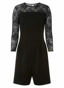 Womens **Tall Black Mesh Sleeve Playsuit- Black, Black