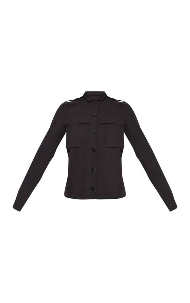 Tall Black Cargo Pocket Detail  Shirt, Black
