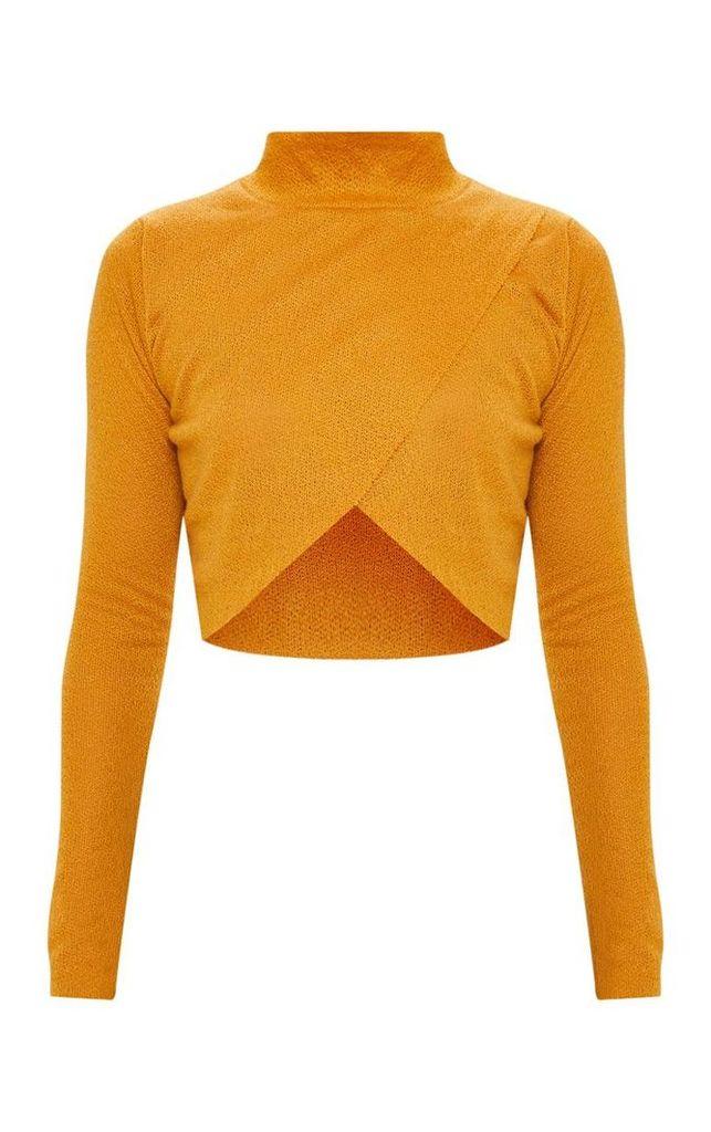Mustard Lightweight Knit Wrap Front  Crop Top, Yellow