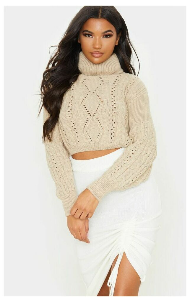 Stone Cropped Cable Knitted Jumper, White