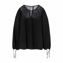 Blouse with Lace Neckline and Tie Cuffs