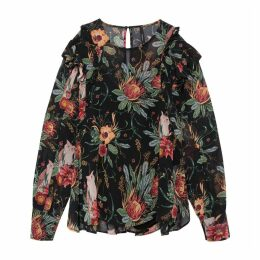 Floral Print Blouse with Shoulder Ruffles