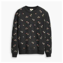 Oversized Floral Print Cotton Sweatshirt