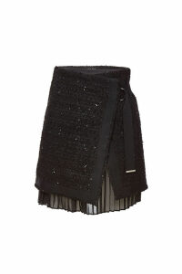 Karl Lagerfeld Boucle Skirt with Pleated Insert and Sequins