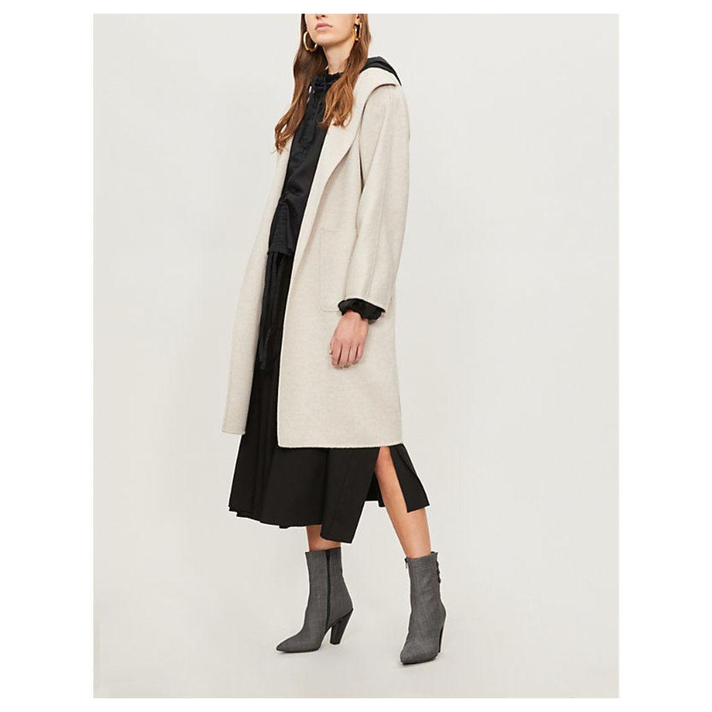 Max Mara Womens Cream Lilia Brushed Cashmere Wrap Coat