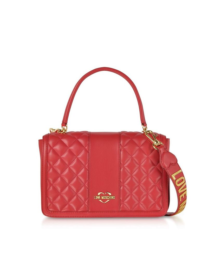 Love Moschino Quilted Eco Leather Top Handle Bag