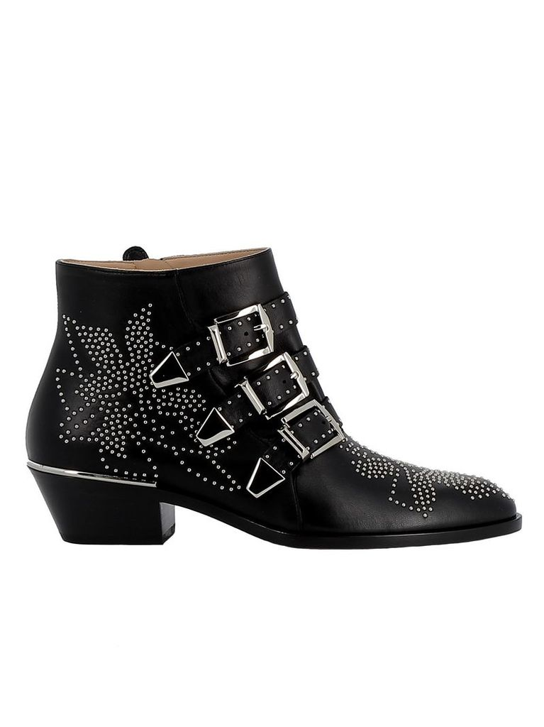 Chloe' Black Leather Ankle Boots