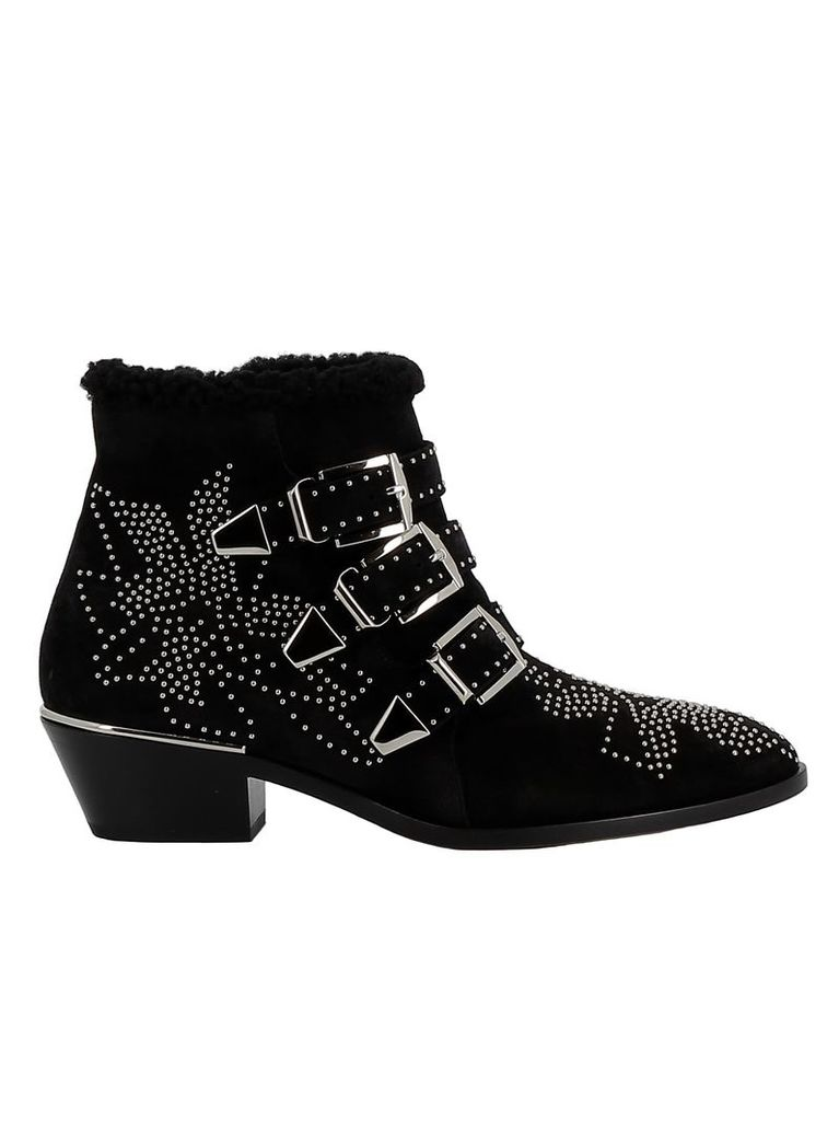 Chloe' Black Suede Ankle Boots