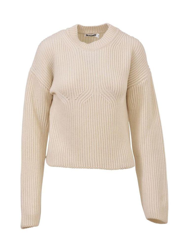 Jil Sander White Crewneck Sweater