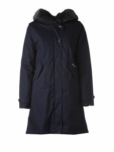 Woolrich Blue Hooded Winter Coat