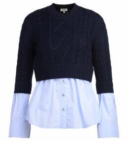 Kenzo Blue Cotton Sweater With Light-blue Shirt