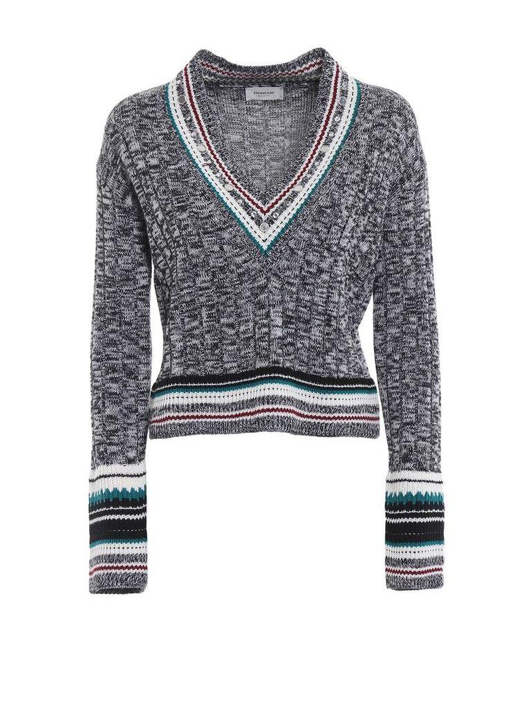 Dondup Embellished Melange Wool Blend V-neck