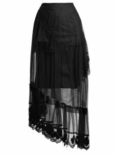 4 Moncler Simone Rocha - Embroidered Lace Trimmed Tulle Skirt - Womens - Black