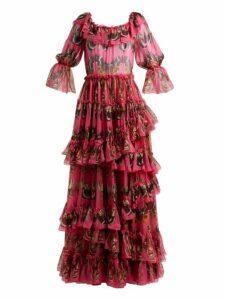 Dolce & Gabbana - Butterfly Print Ruffled Silk Chiffon Gown - Womens - Pink Print