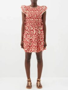 Richard Quinn - Floral Print Satin Midi Dress - Womens - Multi