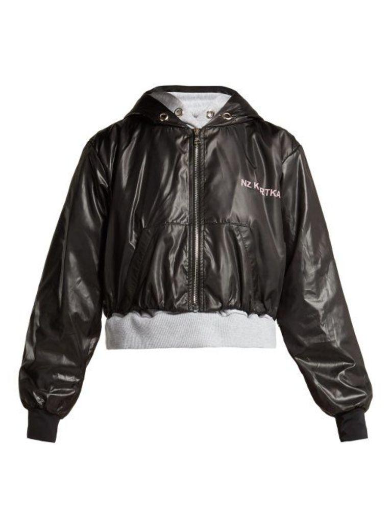 Natasha Zinko - Double Layered Hooded Jacket - Womens - Black Grey