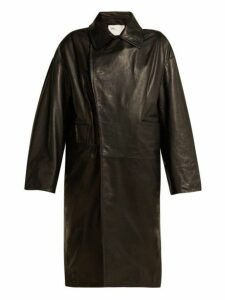 Toga - Scarf Insert Leather Coat - Womens - Black