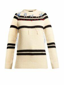 Calvin Klein 205w39nyc - Loose Thread Striped Wool Sweater - Womens - Cream