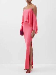 Raquel Diniz - Aurora Silk Velvet Wrap Dress - Womens - Light Pink