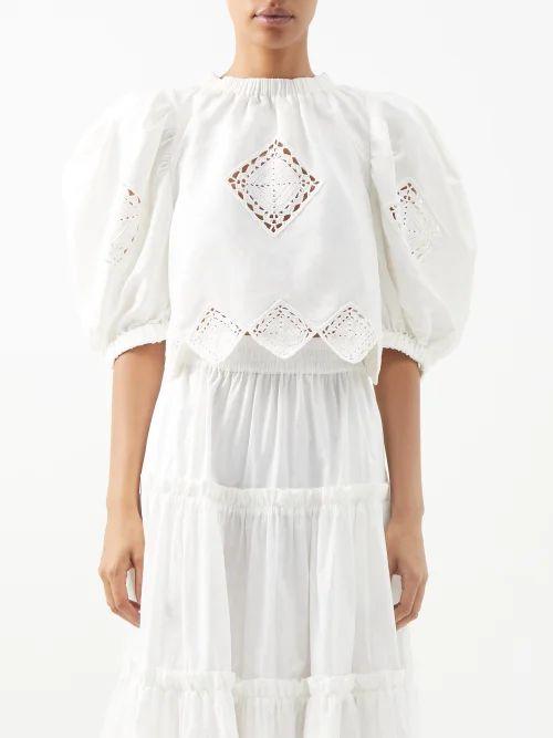 Osman - Margeaux Single Breasted Geometric Jacquard Coat - Womens - Pink Multi