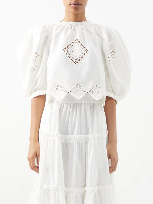Osman - Margeaux Single Breasted Geometric Jacquard Coat - Womens - Pink Multi