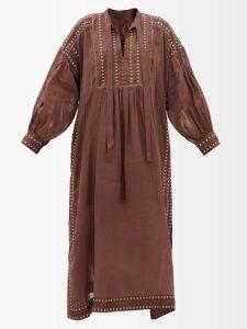 Alexander Mcqueen - Butterfly Print Tassel Trim Silk Midi Dress - Womens - Red Multi