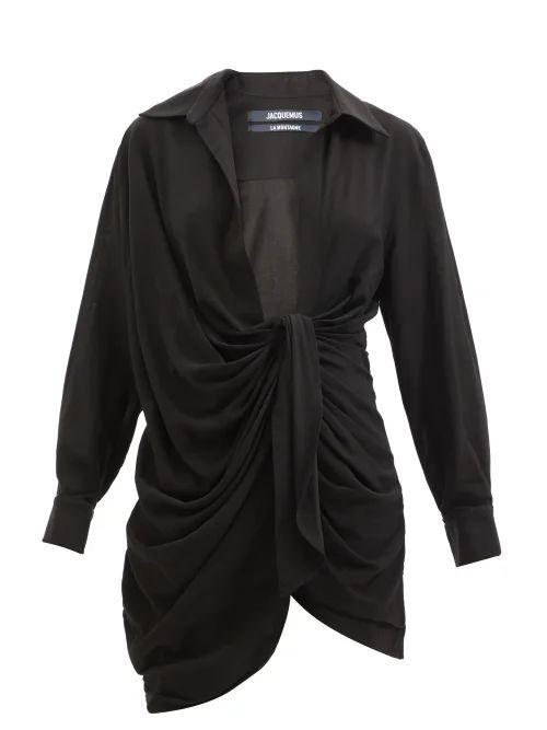 Fendi - Double Breasted Wool Blend Coat - Womens - Navy