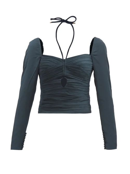 Alessandra Rich - Crystal Embellished Silk Satin Gown - Womens - Red