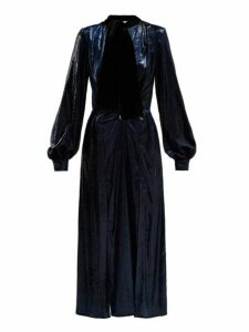 Raquel Diniz - Christy Crystal Embellished Velvet Dress - Womens - Dark Blue