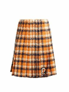 Prada - Tartan Tweed Midi Skirt - Womens - Orange Multi