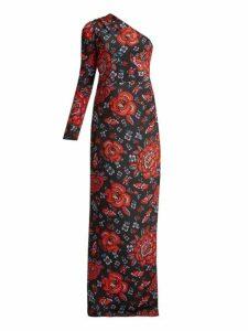 Rebecca De Ravenel - Rose Print One Shoulder Silk Gown - Womens - Black Multi