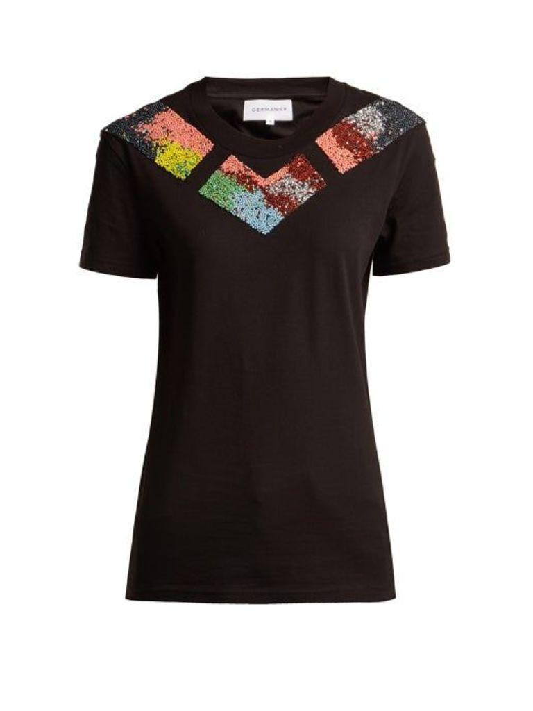 Germanier - Bead Embellished Jersey T Shirt - Womens - Black Multi
