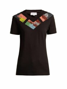 Germanier - Bead Embellished Jersey T Shirt - Womens - Black Multi