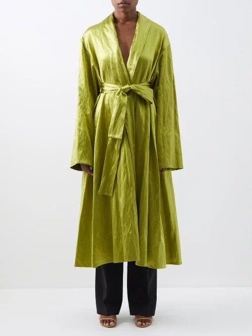 Brock Collection - Sorrel Floral Print Satin Pencil Skirt - Womens - Brown