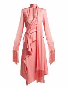 Alexander Mcqueen - Fringe Trimmed Silk Satin Midi Dress - Womens - Pink