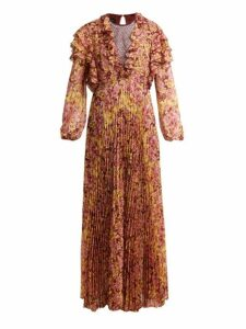 Giambattista Valli - Pleated Floral Print Silk Dress - Womens - Burgundy Print