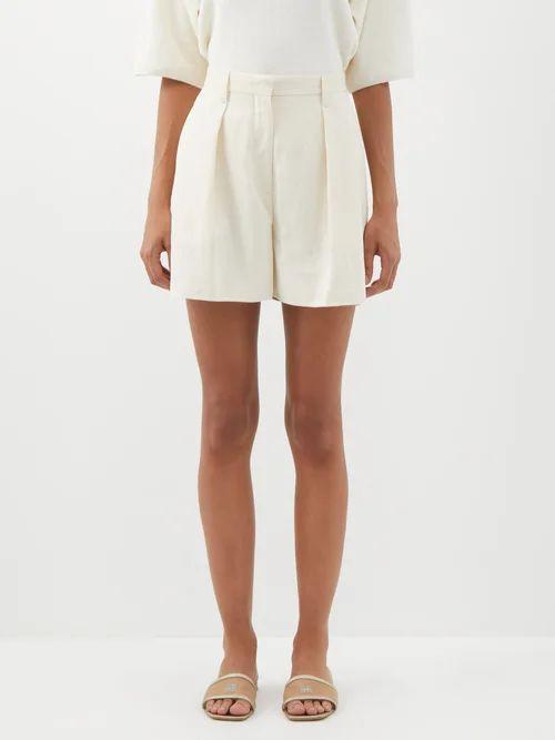Luisa Beccaria - Houndstooth Print Silk Chiffon Gown - Womens - Green Multi