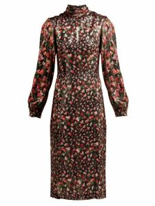 Raquel Diniz - Elle Floral Print Silk Midi Dress - Womens - Black Red