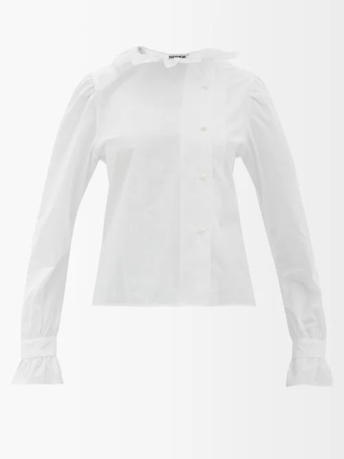 Saloni - Lauren Devoré Silk Blend Blouse - Womens - Navy Multi