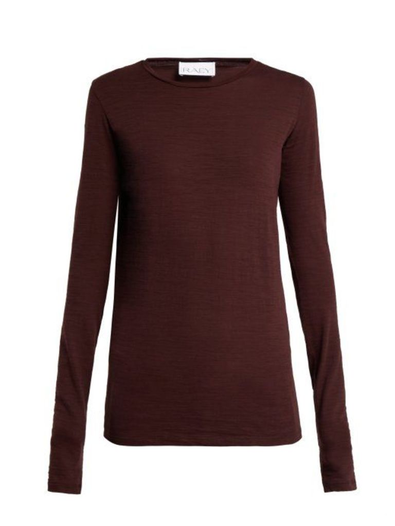 Raey - Long Sleeved Slubby Cotton Jersey T Shirt - Womens - Burgundy