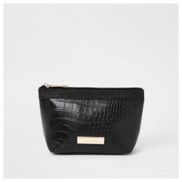 River Island Womens Black croc panel makeup bag