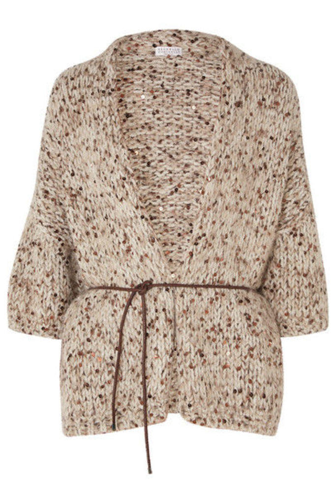 Brunello Cucinelli - Belted Sequined Chunky-knit Cardigan - Beige