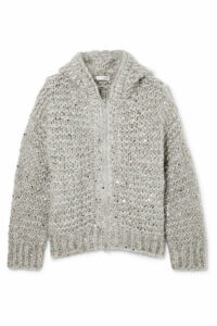 Brunello Cucinelli - Hooded Sequin-embellished Mohair-blend Cardigan - Gray