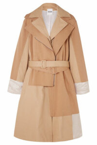 Koché - Paneled Cotton-jersey, Twill And Hammered Satin Trench Coat - Sand