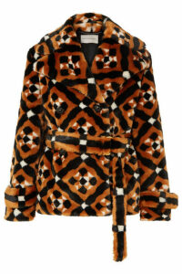 Mary Katrantzou - Oates Printed Faux Fur Coat - Camel