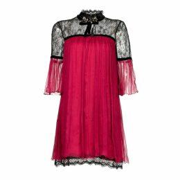 Nissa - Elegant Mini Silk Dress With Lace Details