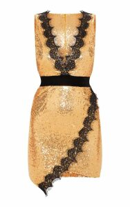 Gold Sequin Lace Insert Bodycon Dress, Yellow
