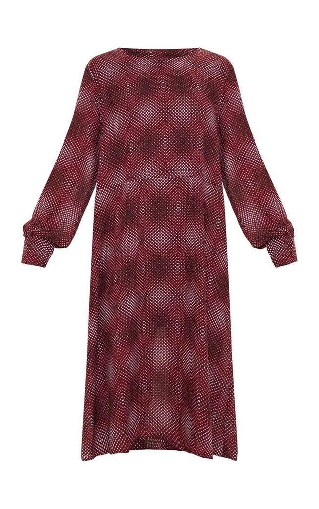 Burgundy Geometric Printed Midi Shift Dress, Red