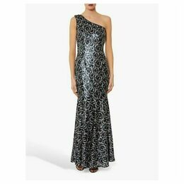 Gina Bacconi Beezus Embellished Floral Maxi Dress, Navy/Silver