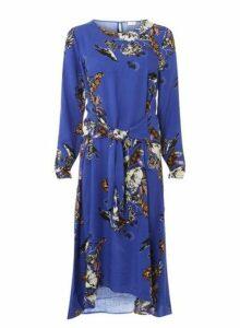 Womens **Vila Blue Floral Midi Dress- Blue, Blue